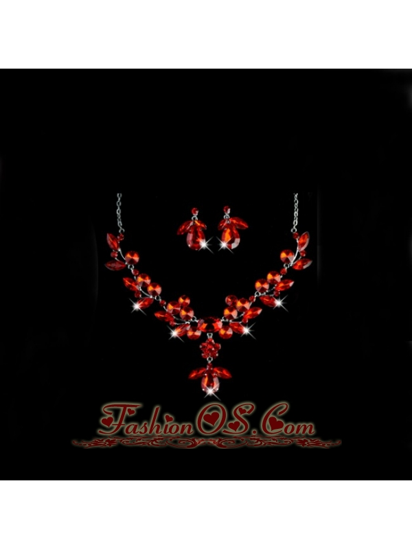 Stunning Crystals Alloy Plated Wedding Jewelry Set Including Necklace And Earrings
