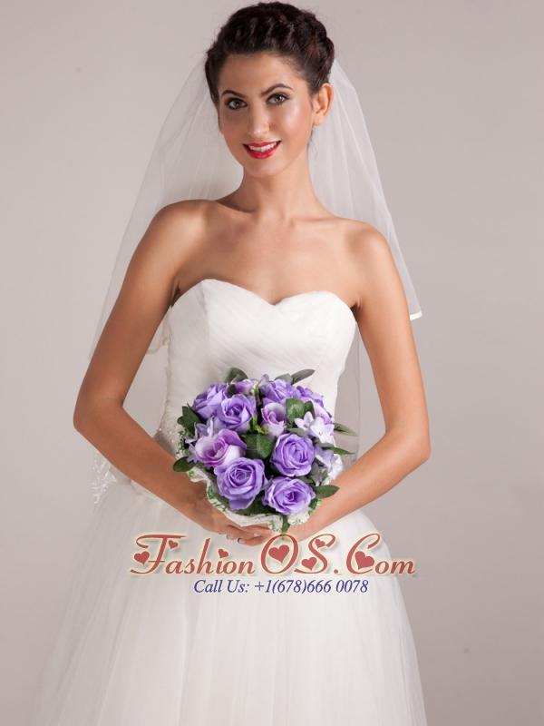 Warm Purple Round Shape Hand-tied Wedding Bridal Bouquet