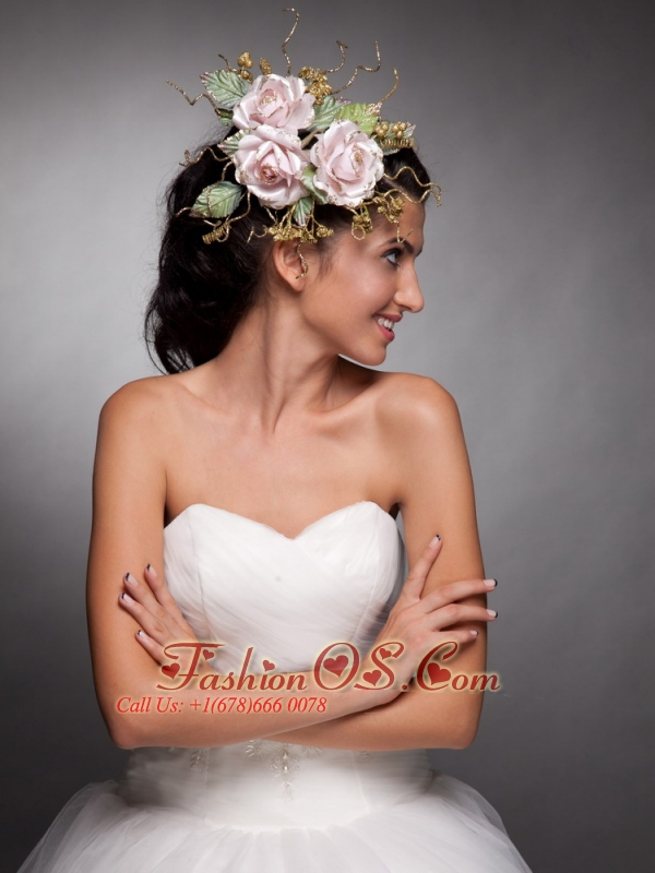 Beautiful Baby Pink Hand Made Flowers Headpieces