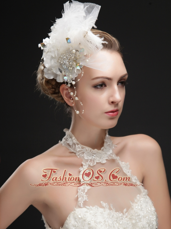 Noble Feather Imitation Pearls Fascinators With Colorful Rhinestones