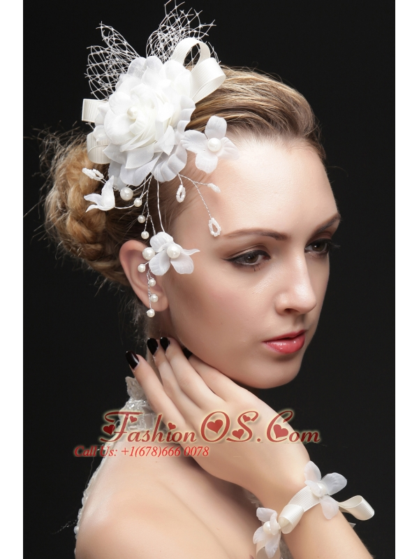 Beautiful Net Fascinators With Imitation Pearls And Flowers