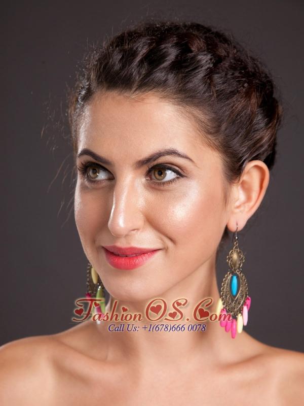 Multi-color Chandelier Silver Plated Drop Earrings