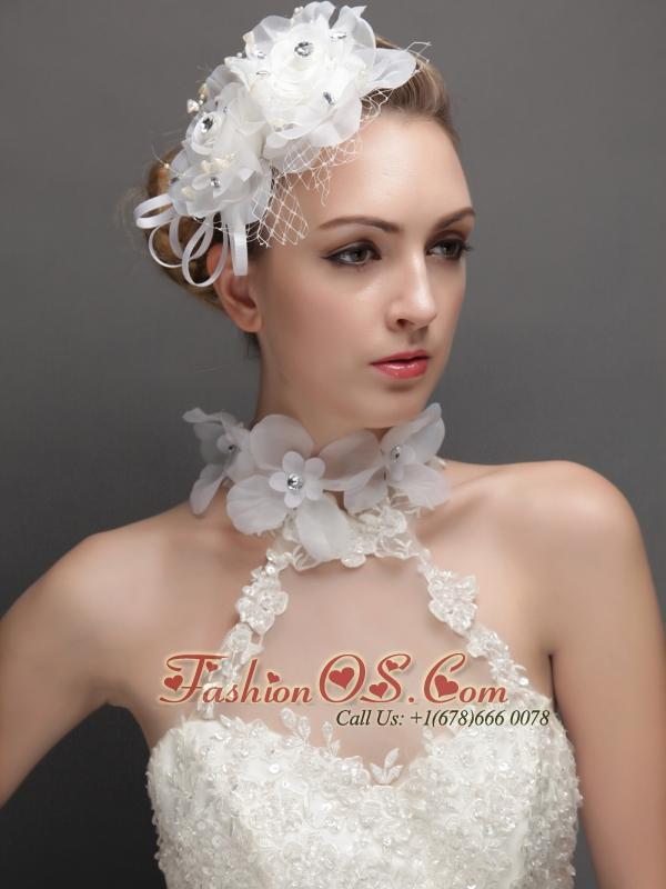 Lovely Net With Rhinestones Adorned Flowers Women 's Fascinators Floral Choker Set