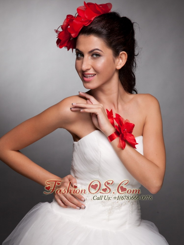 Red Hand Made Flowers Taffeta Headpieces and Wedding Wrist Corsage