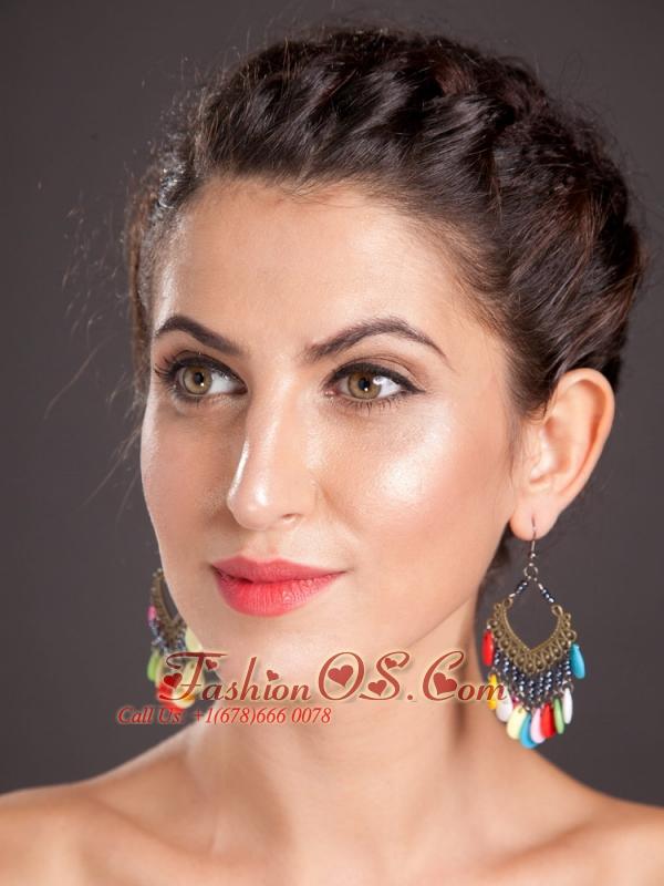 Shining Alloy Multi-color Chandelier Drop Earrings