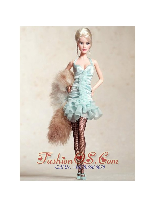Cute Halter Apple Green Dress With Mini-length Quinceanera Doll Dress