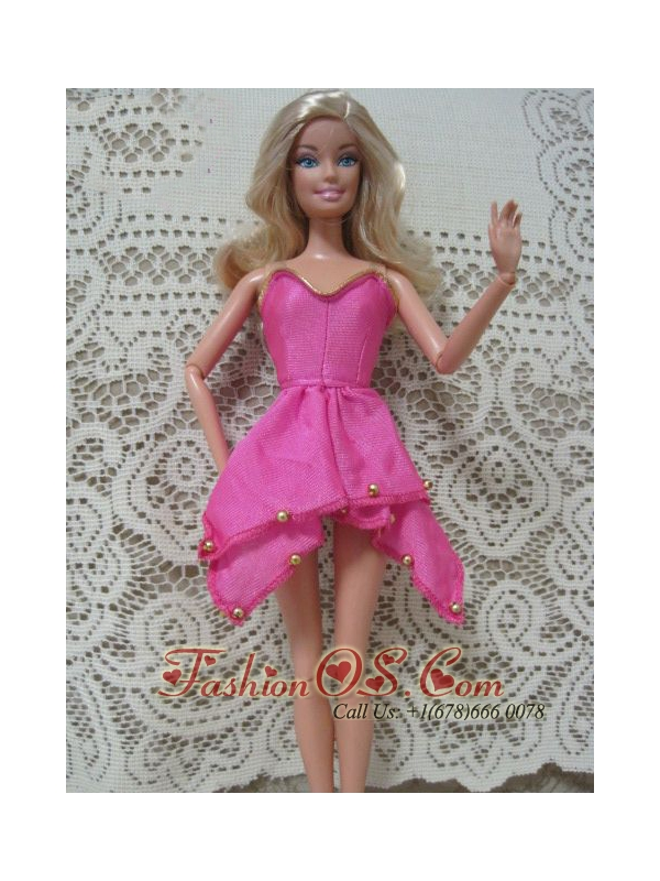 Fashion Pink Handmade Dress With Beading Made To Fit The Quinceanera Doll
