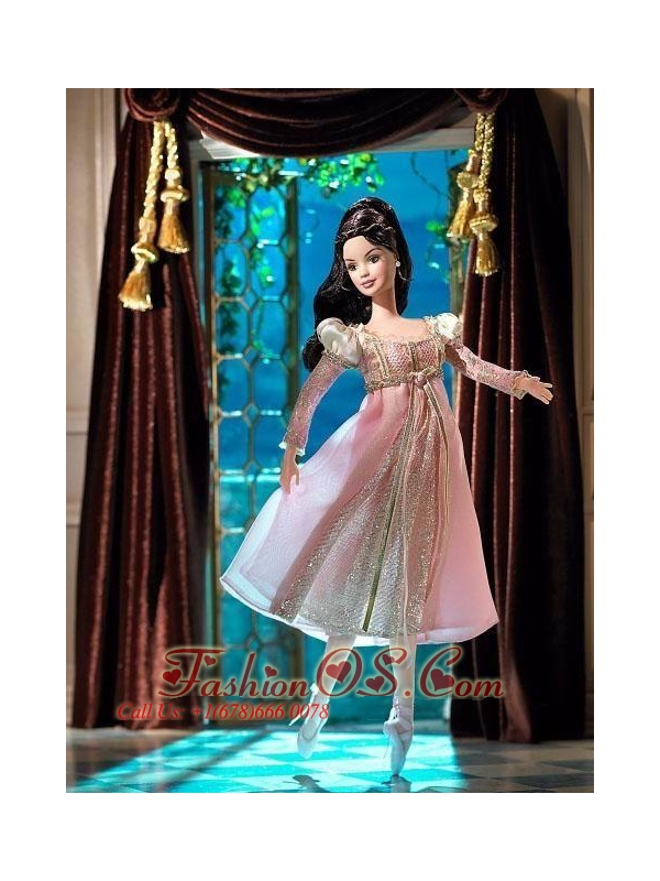 New Fashion Princess Pink Dress With Long Sleeves Gown For Quinceanera Doll