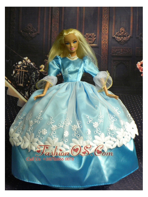 Sweet Ball Gown Baby Blue And Lace Handmade Dresses Fashion Party Clothes Gown Skirt For Quinceanera Doll