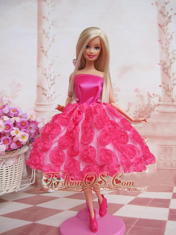 Sweet Ball Gown Hot Pink Hand Made Flowers With Tea-length Made To ...