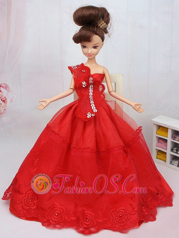 Hand Made Flower And Beading Red Organza Quinceanera Doll Dress