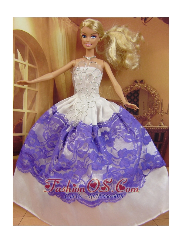 New Fashion Ball Gown White And Purple Dress Gown For Quinceanera Doll
