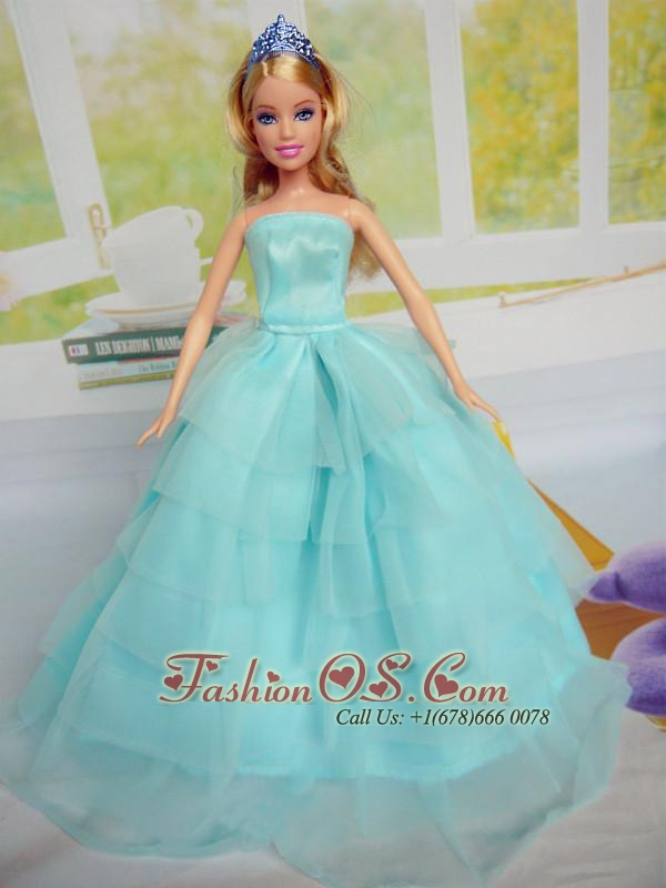 Beautiful Aqua Blue Party Clothes For Quinceanera Doll Tulle