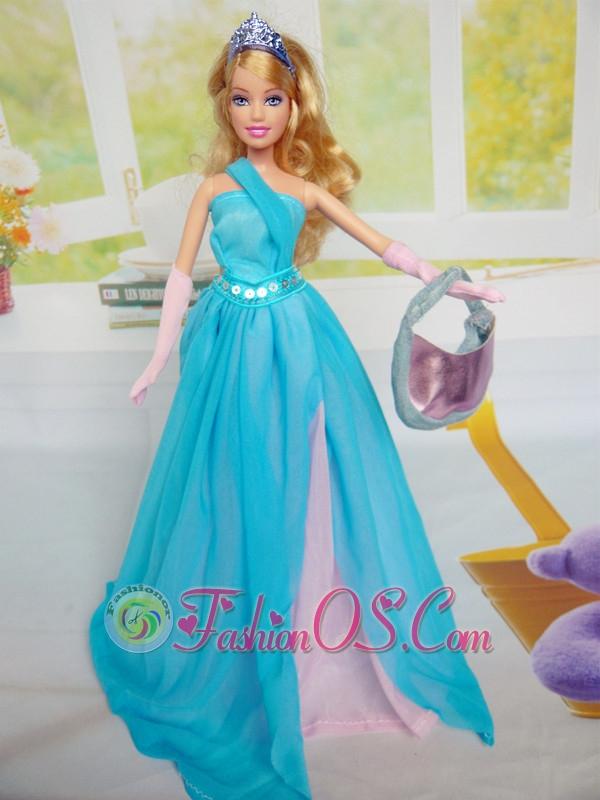 Beautiful Chiffon Blue Chiffon Party Dress For Quinceanera Doll