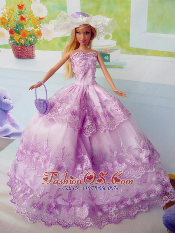Beautiful Fuchsia Party Clothes Fashion Dress For Quinceanera Doll Organza