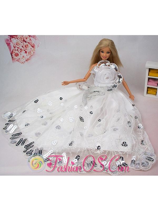 Beautiful Hand Made Flower Sequin Quinceanera Doll Dress