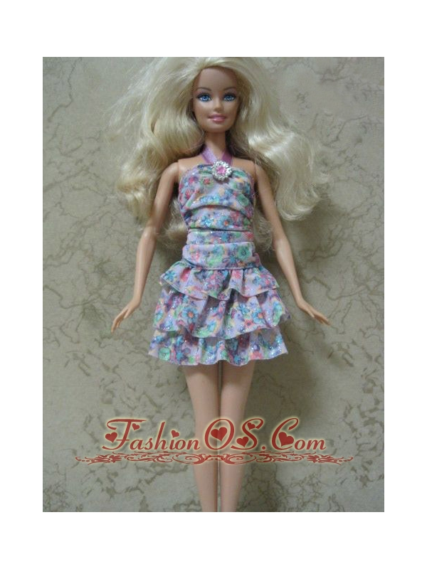Beautiful Printing Short Colorful Quinceanera Doll Dress