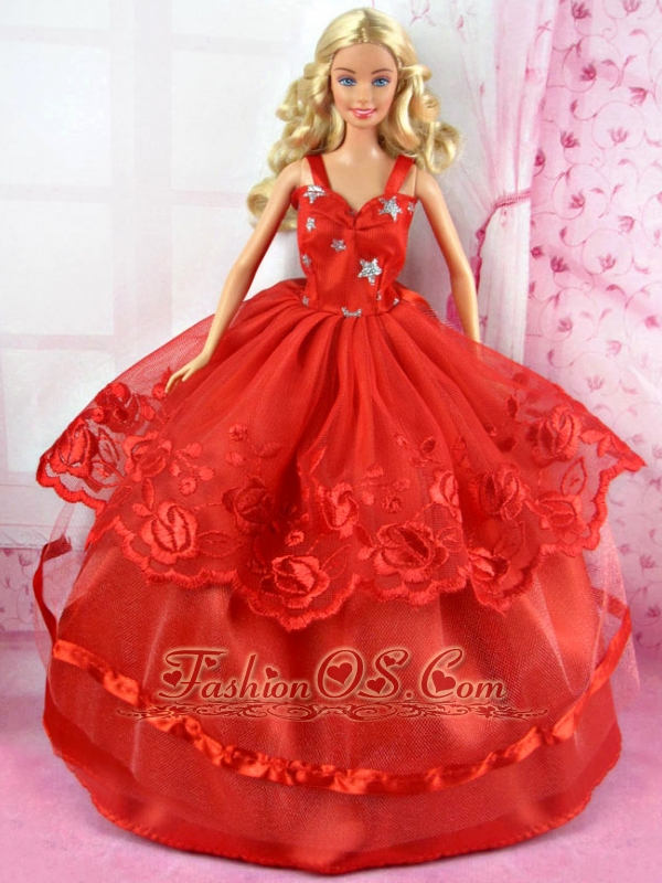 Beautiful Red Party Dress Tulle For Quinceanera Doll