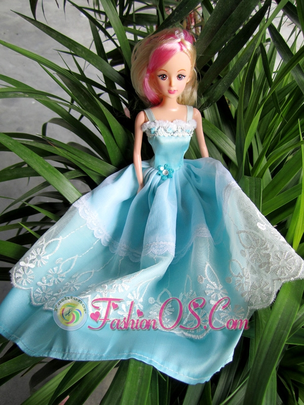 Beauty Party Dress To Quinceanera Doll With Hand Made Flowers And Embroidery
