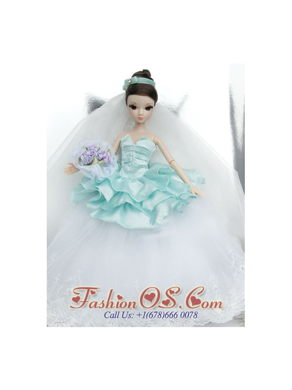 Beutiful Wedding Dress To Quinceanera Doll With Lace And Ruffles