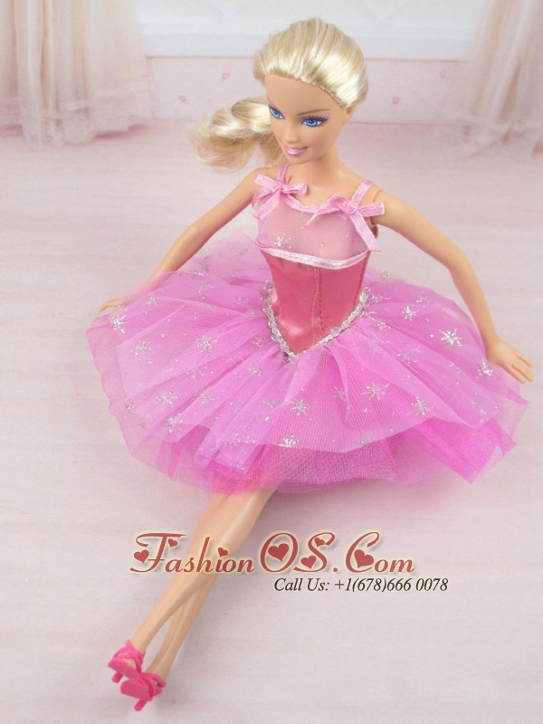 Cute Rose Pink Straps Beaded Decorate Party Dress For Quinceanera Doll