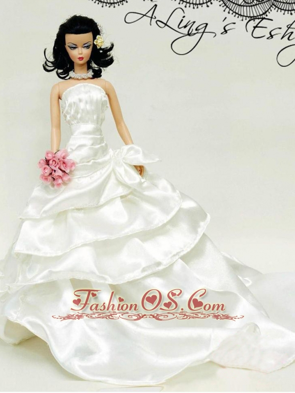 Elegant Wedding Dress For Quinceanera Doll With Ruffled Layers And Brush Train