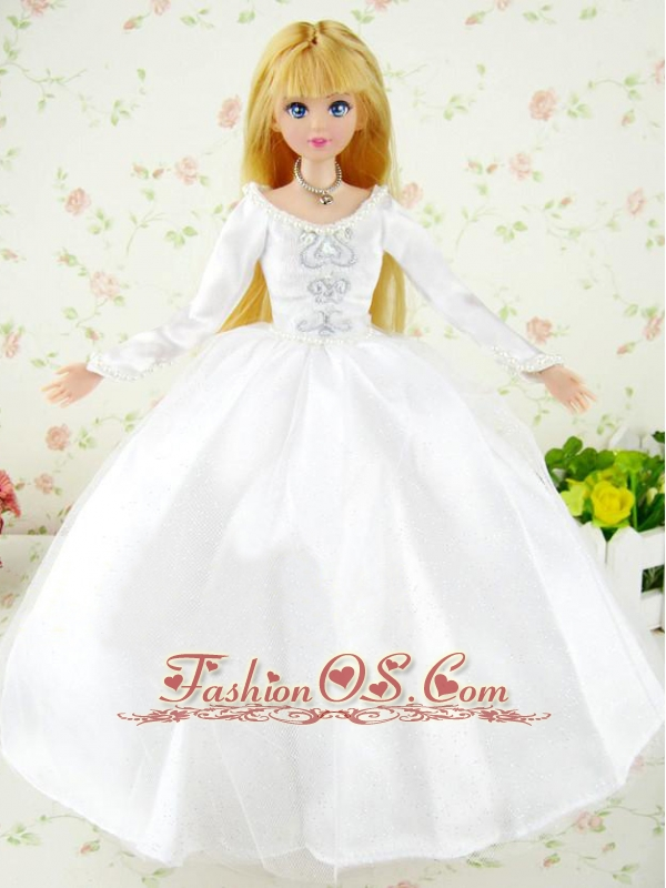Fashion Handmade White Tulle Quinceanera Doll Wedding Dress For Quinceanera Doll