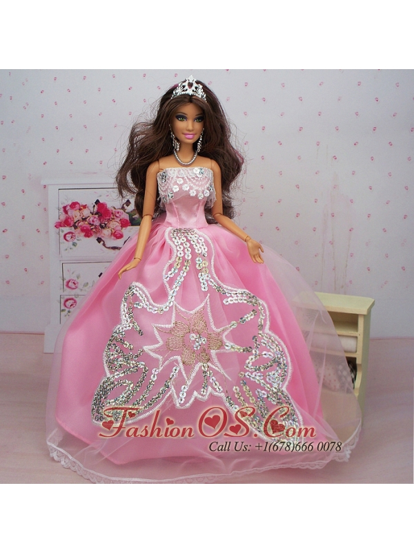 Fashionable Ball Gown Pink Party Clothes Quinceanera Doll Dress- $7.52