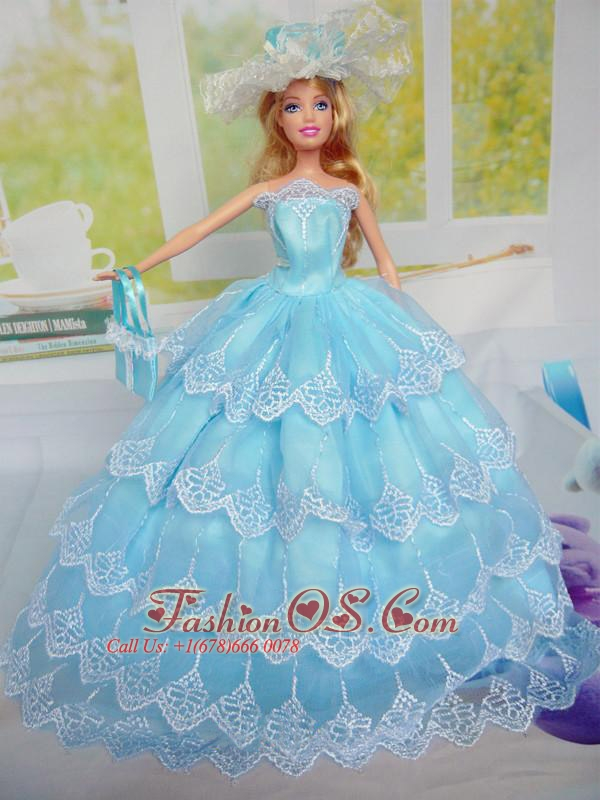 Luxurious Baby Blue Party Clothes For Quinceanera Doll Tulle