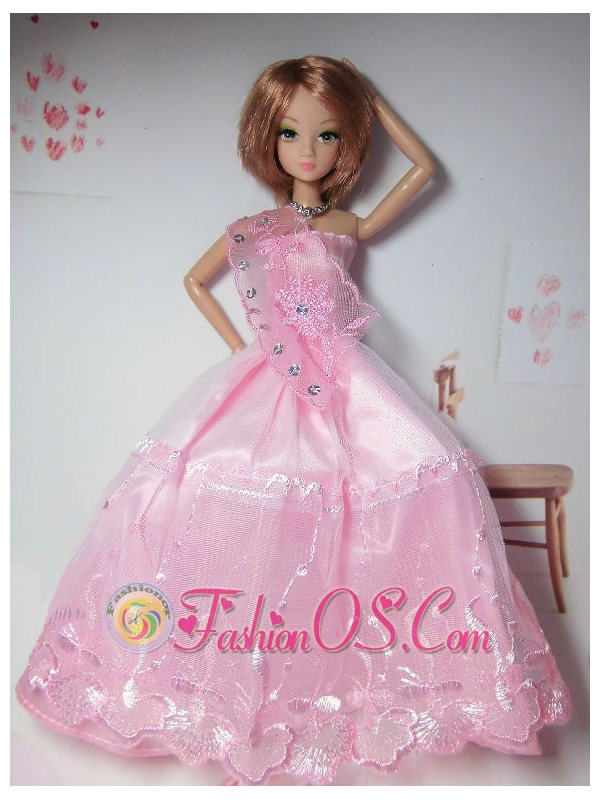 New Arrival Pink Dress with Tulle Made to Fit the Barbie Doll