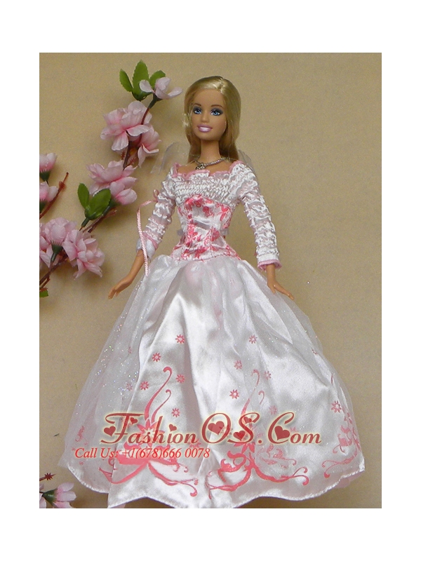 New Beautiful White Long Sleeves Handmade Wedding Party Clothes Fashion Dress For Quinceanera Doll