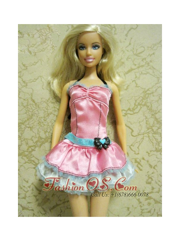Pretty Bow Short Pink Quinceanera Doll Dress