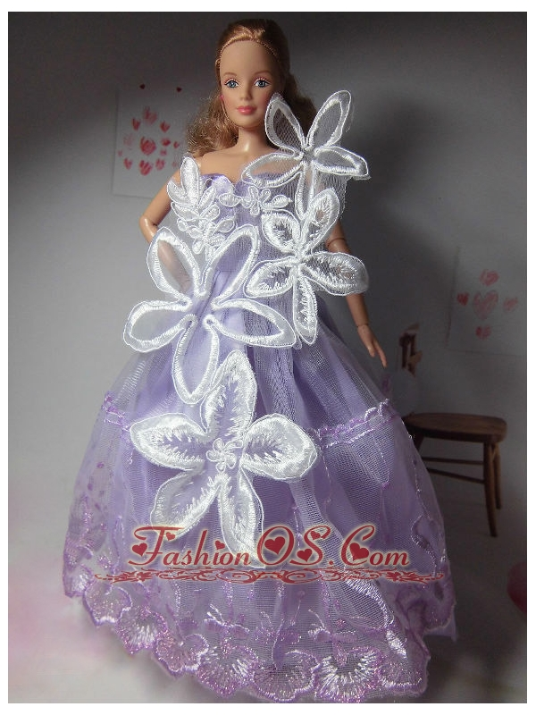 Pretty Party Clothes Lilac Beautiful Dress Tulle For Quinceanera Doll