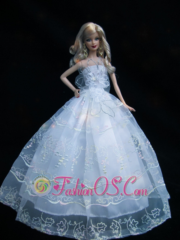 Romantic Baby Blue Strapless Lace Fashion Wedding Dress For Quinceanera Doll