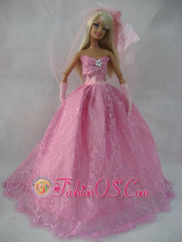Romantic Rose Pink Strapless Lace Wedding Dress For Quinceanera Doll