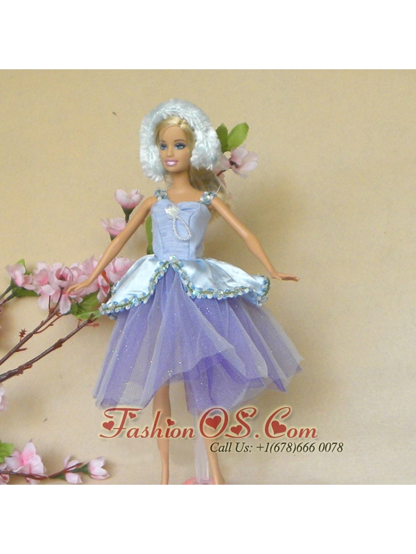 Sweet Lilac Lace Fashion Party Clothes Fashion Dress For Quinceanera Doll