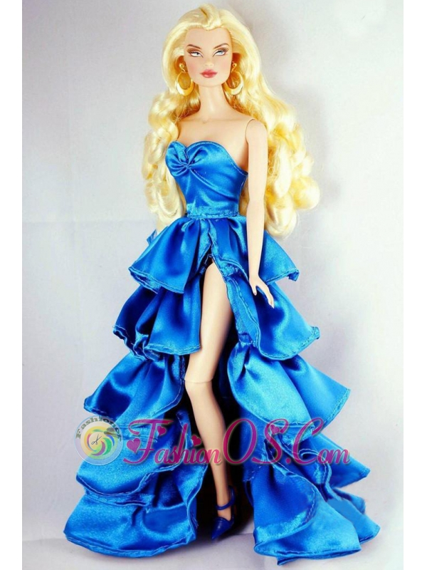 Sweet Party Dress With Ruffles And High Slit For Quinceanera Doll