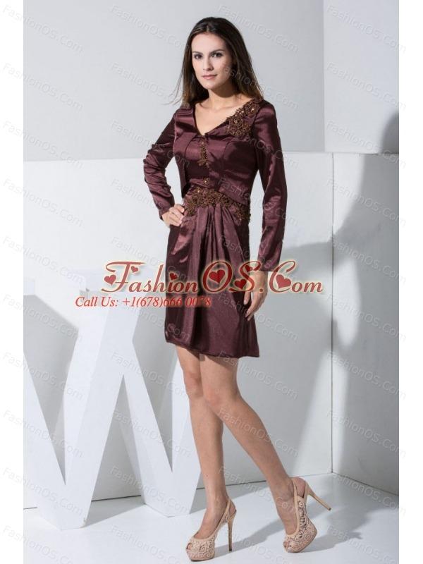Appliques Decorate Bodice Burgundy Mini-length V-neck 2013 Mother Of The Bride Dress