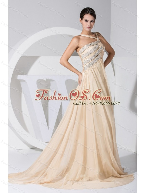 Asymmetrical Beading Decorate Bodice Champagne Chiffon Brush Train Prom Dress For 2013
