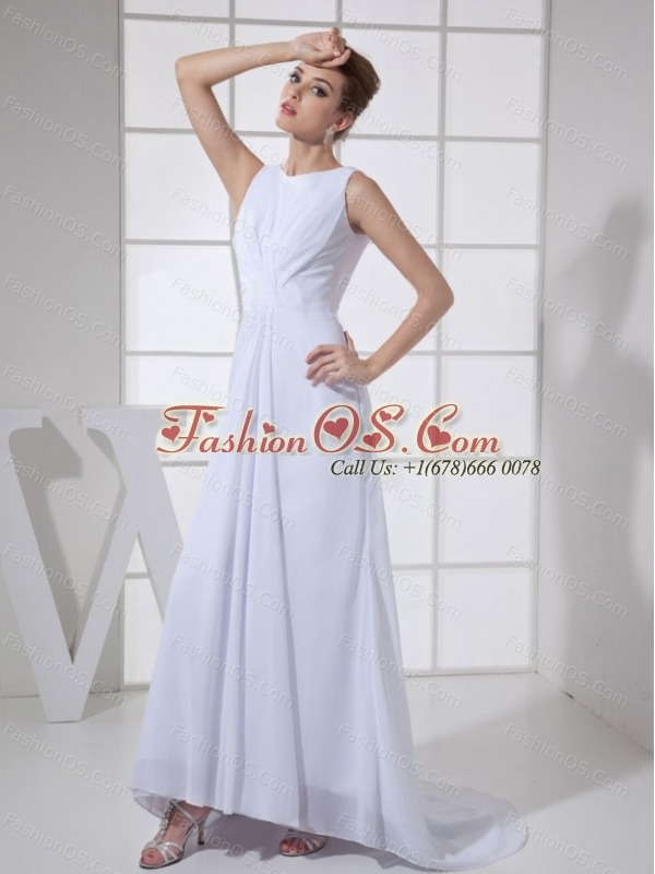 Bateau White For Mother Of The Bride Dress With Brush Train