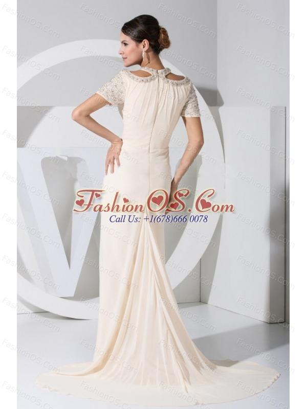 Beading Decorate Bodice Scoop Neckline Prom Dress For 2013 Brush Train