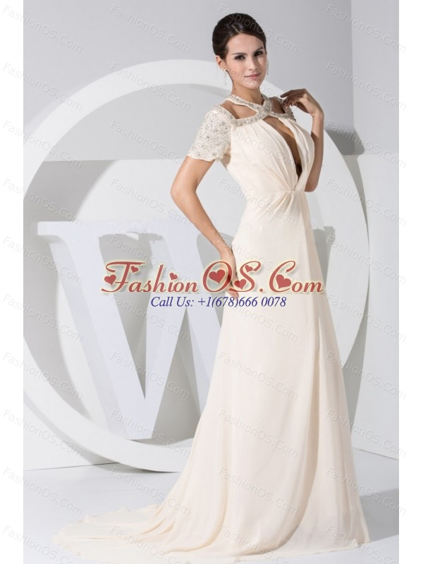 Beading Decorate Bodice Scoop Neckline Prom Dress For 2013 Brush Train