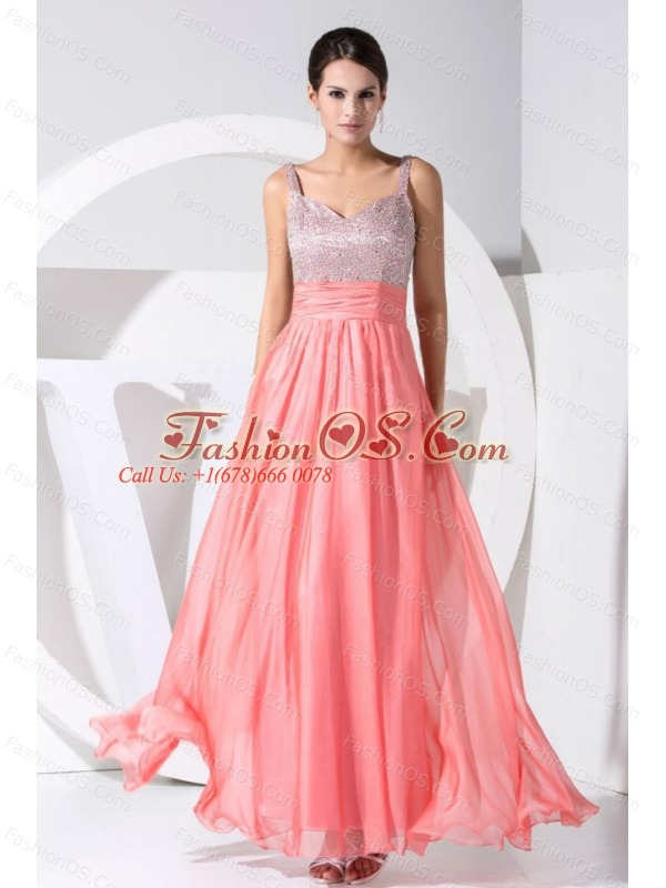 Beading Decorate Bodice Straps Ankle-length Straps 2013 Prom Dress Watermelon Red