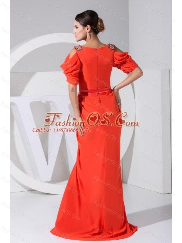 Beading Decorate Bodice V-neck Red Chiffon Brush Train Short Sleeves 2013 Prom Dress