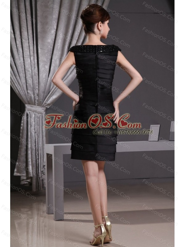 Betaau Ruffled Layers and Beading For Mother Of The Bride Dress With Cap Sleeves