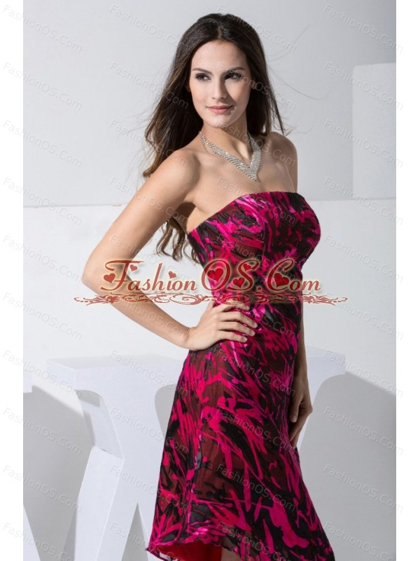 Colorful 2013 Prom Dress For Formal Evening Asymmetrical Strapless Printed