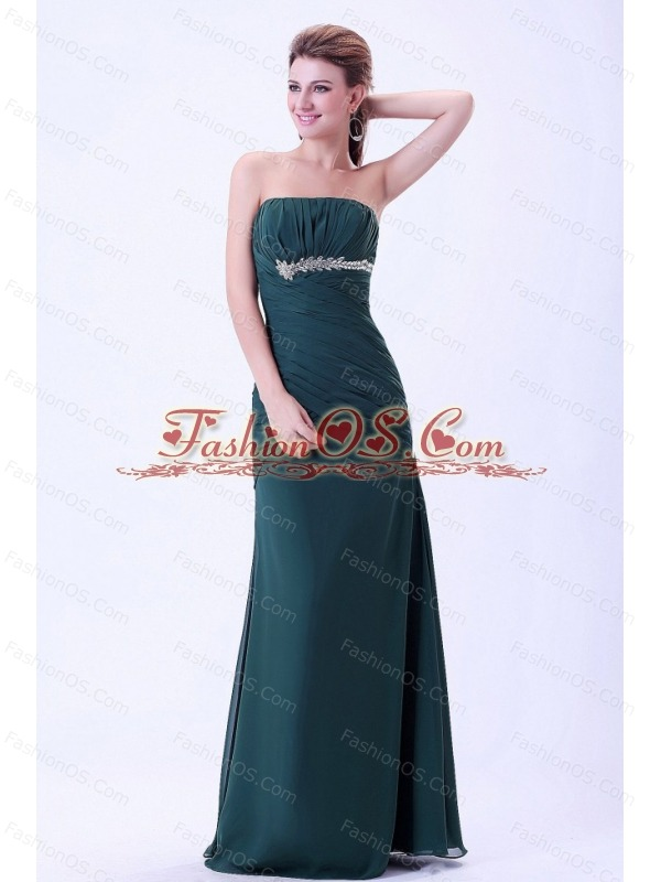 Green Prom / Evening Dress With Appliques and Ruching Chiffon