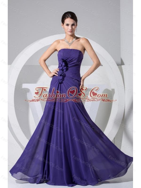 Hand Made Flowers Decorate Bodice Purple 2013 Prom Dress Floor-length Strapless