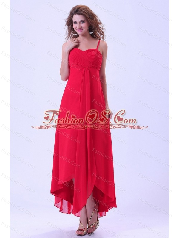 High-low Prom / Homecoming Dress With Spaghetti Straps Chiffon Coral Red For Custom Made