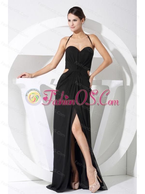 High Slit Halter Balck Chiffon Floor-length 2013 Prom Dress